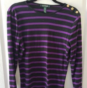 Ralph Lauren Purple and Black Striped Top